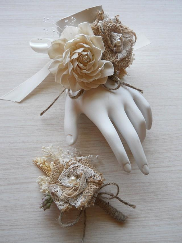 Burlap Amp Sola Flower Wedding Wrist Corsage And Or
