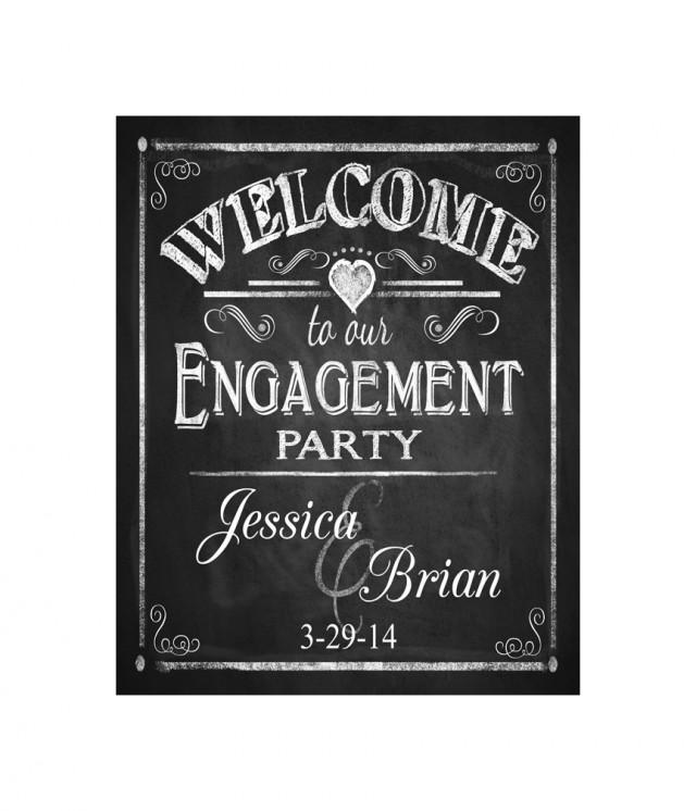 Chalkboard Engagement Party Invitation Printable By: Personalized WELCOME To Our Engagement Party Printable