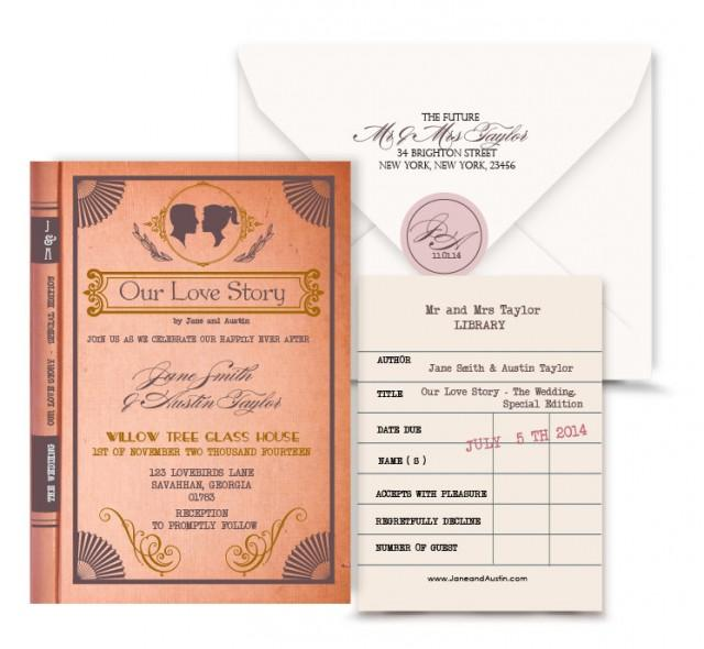 Wedding Invitation Book Style: Vintage Book Wedding Invitation Digital Custom PDF.Love