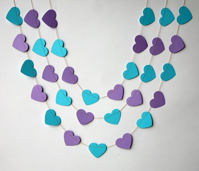heart garland wedding garland wedding decoration purple turquoise heart garland peacock wedding paper garland bridal shower decor 2462847 weddbook