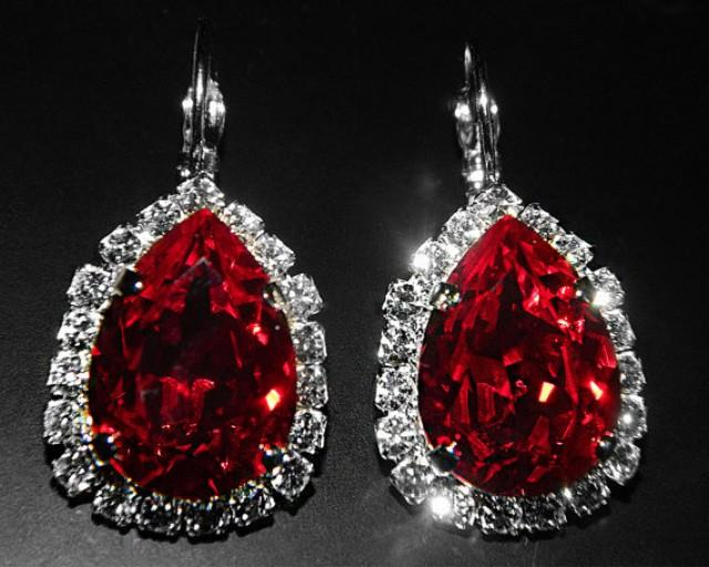 Red Crystal Halo Earrings Swarovski Siam Red Rhinestone