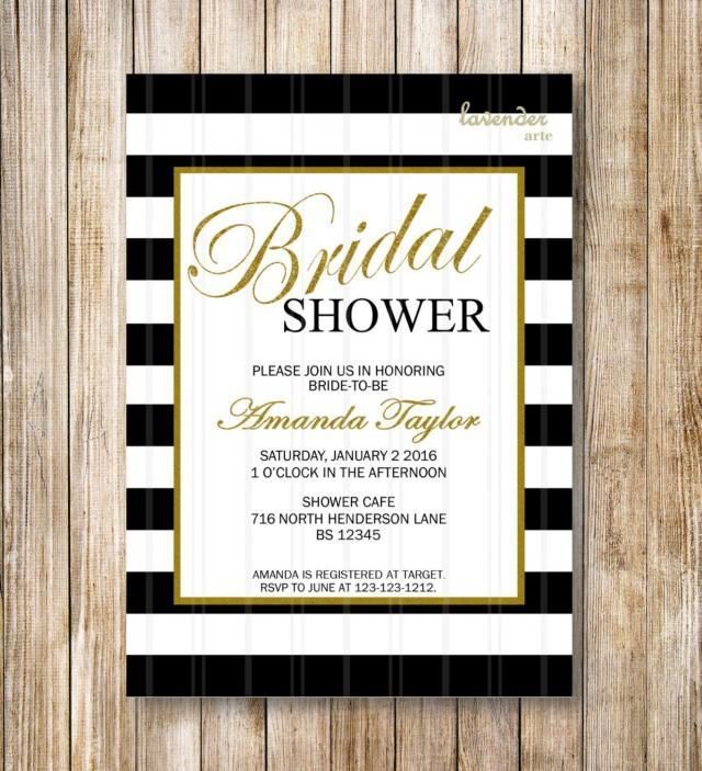 Black And White Stripes Bridal Shower Invitation Coco Chanel