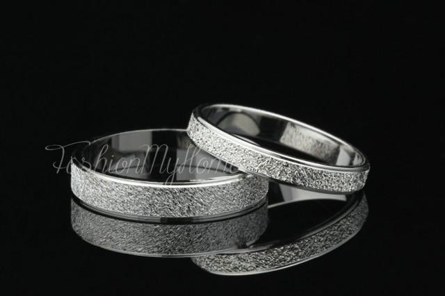 2pcs Couples Rings Set Solid Sterling Silver Ring Frosted