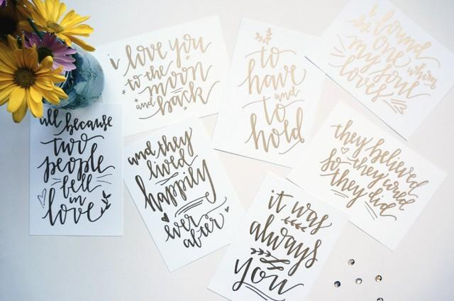 Custom Gold Handwritten Wedding Table Signs With Love Quotes // Handwriting  In Calligraphy Font For Wedding Decor #2464140   Weddbook