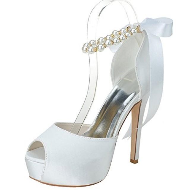 Peep Toe Satin Pearls Ankle Strap Ribbon Bow High Heel Wedding Shoes ...