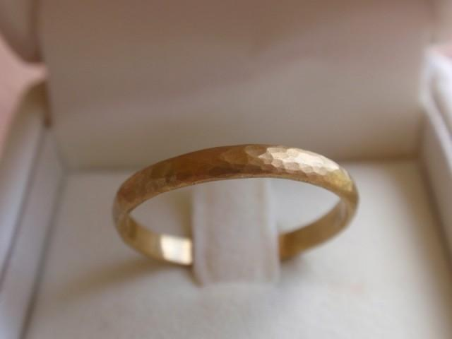 14k Solid Gold Wedding Band Hammered Gold Wedding Ring