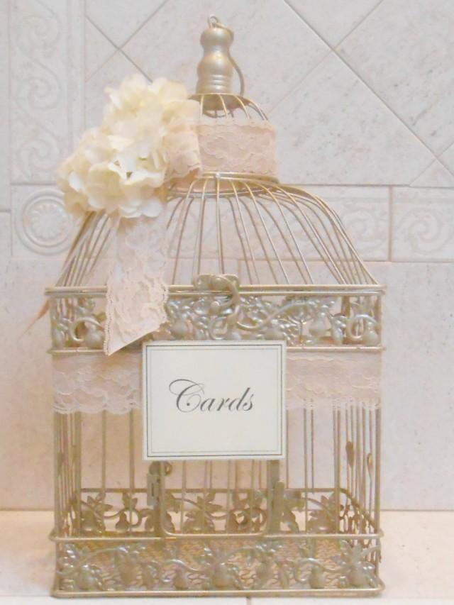 Large Birdcage Wedding Card Holder Champagne Gold