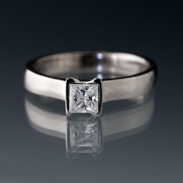 Forever Brilliant Princess Cut Moissanite Engagement Ring