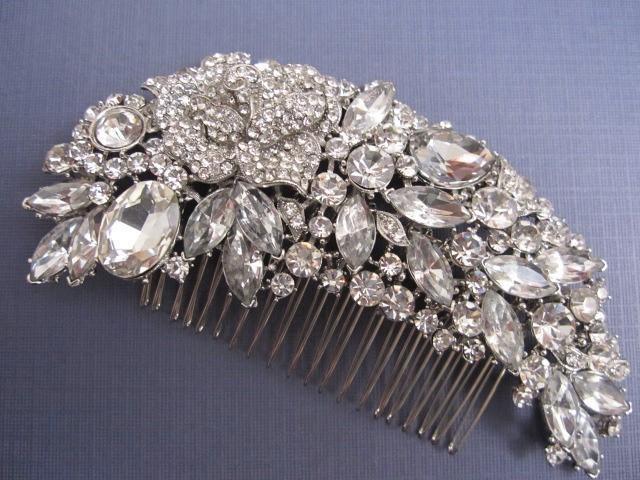 Gold bridal hair comb Wedding hair piece 1920s Silver bridal hair accessories Bridal hair comb Crystal hair comb 1920 wedding headpiece