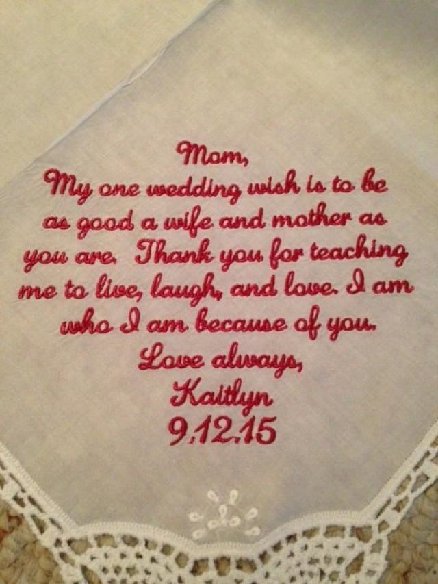 Wedding Handkerchief Mother Of The Bride Gift Embroider