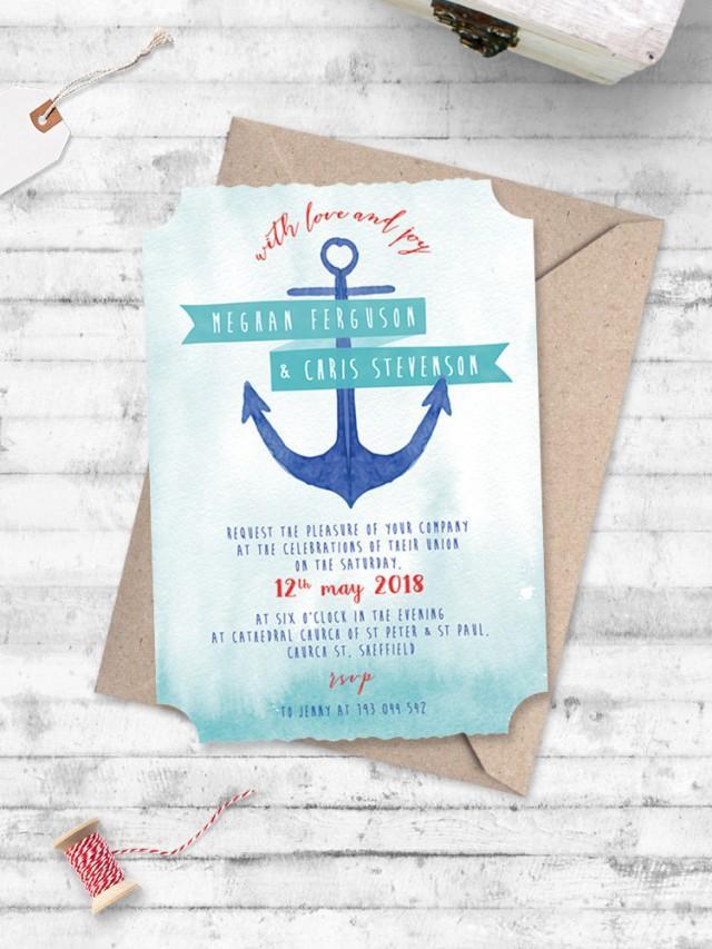Watercolour Anchor Nautical Wedding Invitation - Anchor Me Nautical ...