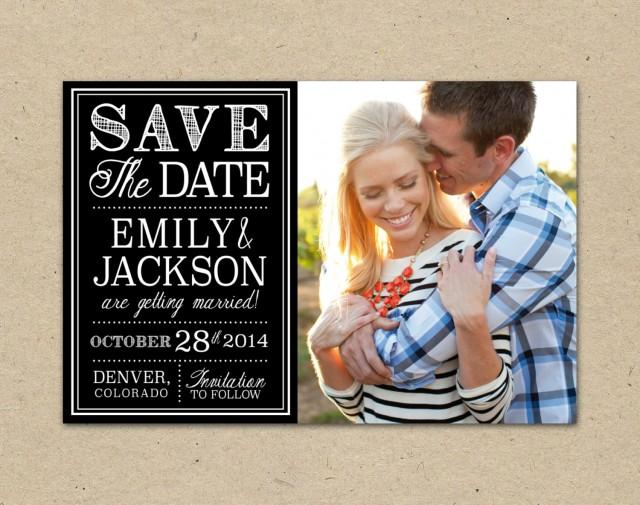 Photo Save The Date Template, Typography. Classic