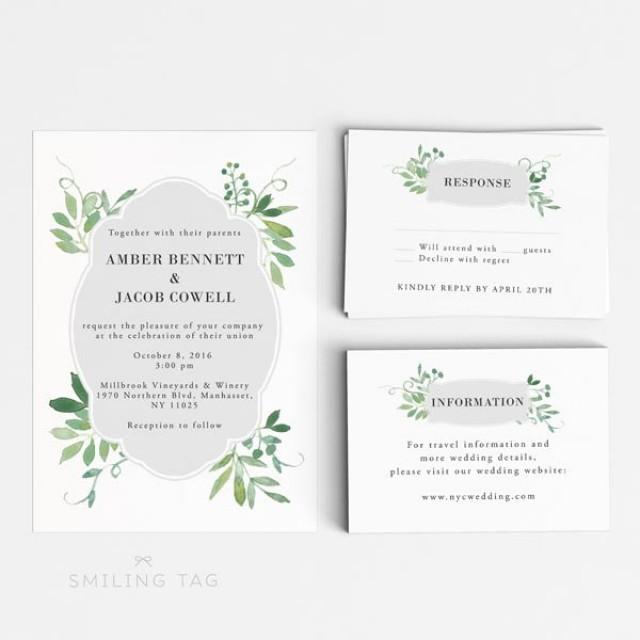 Wedding Invitation Printable Set  Watercolor Botanical Garden