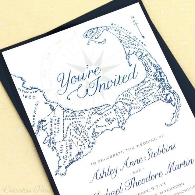 Cape Cod Wedding Invitations, Cape Cod Map Invitations