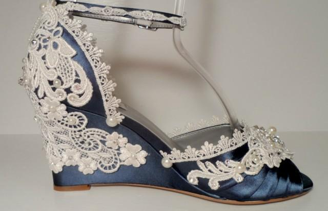 Ivory Wedding Wedge Heels: Navy Blue Three Inch Lace Wedding Wedges Bride's Wedge