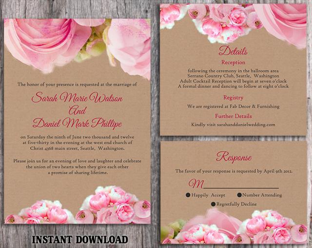 Free Printable Wedding Invitation Templates Download: DIY Rustic Wedding Invitation Template Set Editable Word