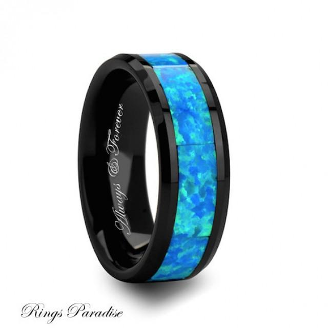 Ceramic Ring Wedding Bands Green Opal Inlay Ring Men