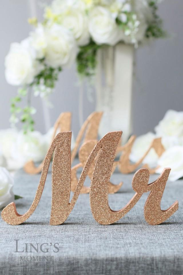 Glitter Mr And Mrs Letters Head Table Decorations Rose