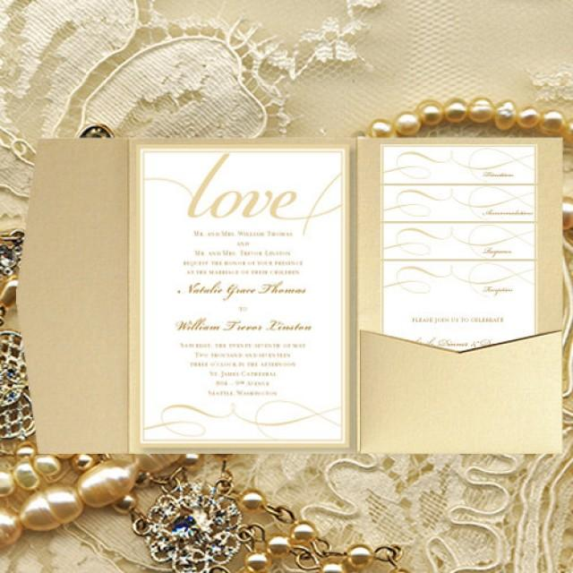 """Printing Your Own Wedding Invitations: DIY Pocket Wedding Invitations """"It's Love"""" Champagne Gold"""