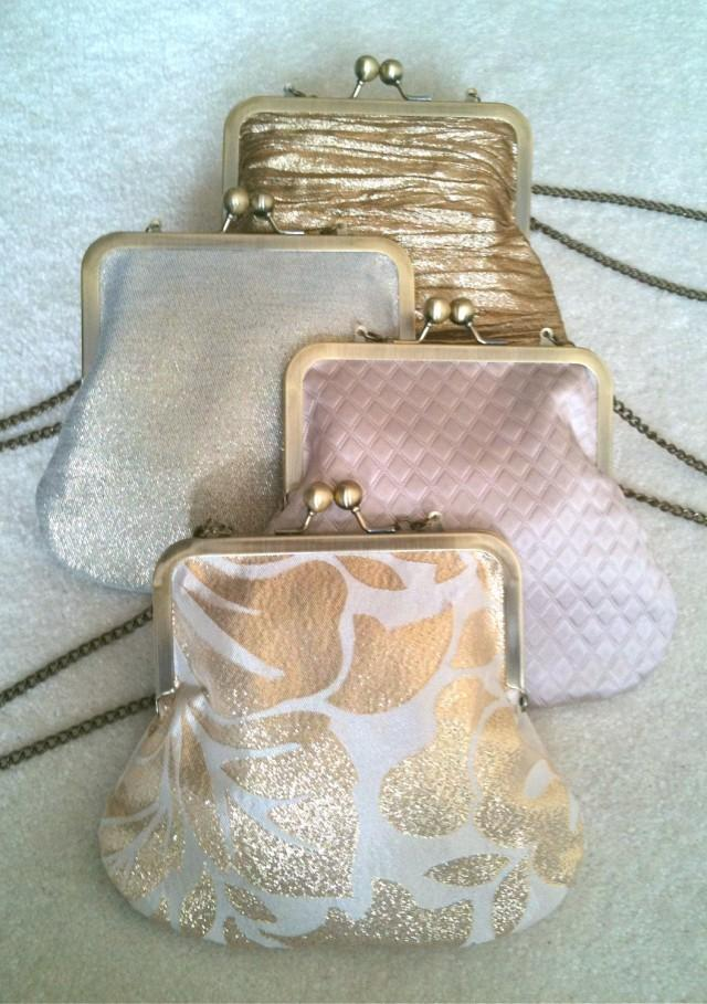 Bridesmaid Set Of 5 Customized Cross Body Metal Frame And Chain