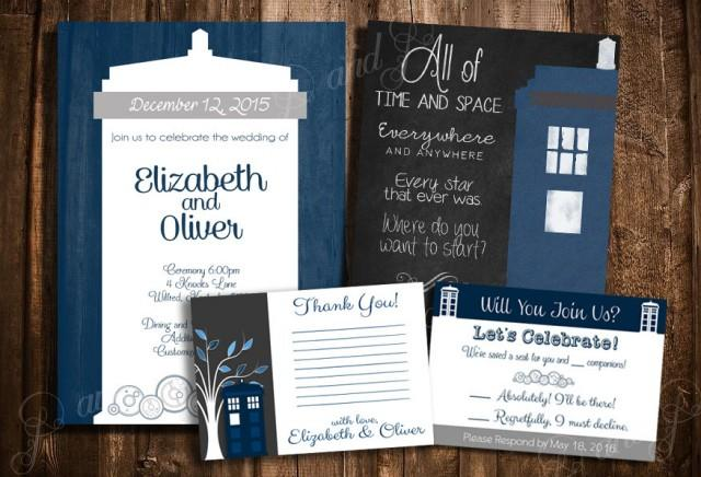 Design Your Own Wedding Invite: Doctor Who TARDIS Wedding Invitation Set