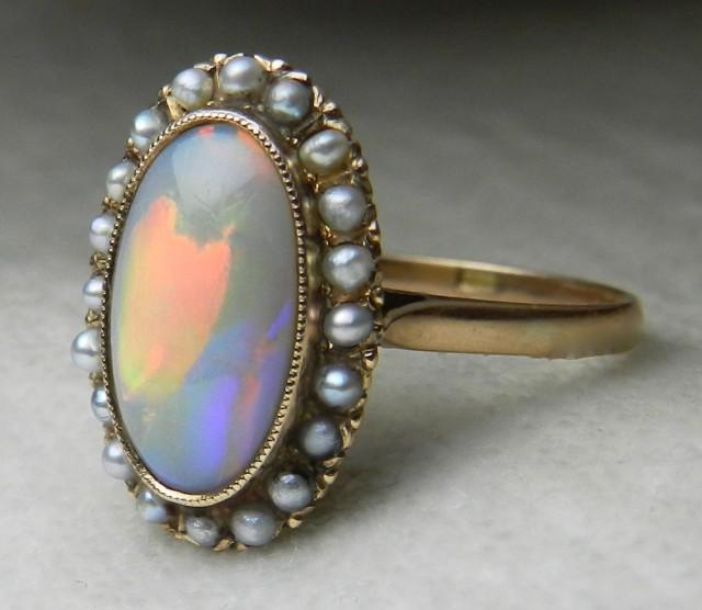 Antique Opal Engagement Ring 14k 1800s Victorian Opal Seed
