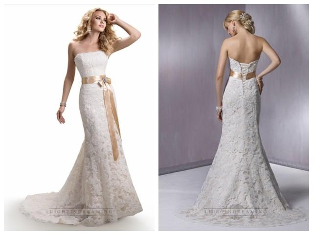 Strapless slim a line lace wedding dresses with satin for Slimming undergarments for wedding dresses
