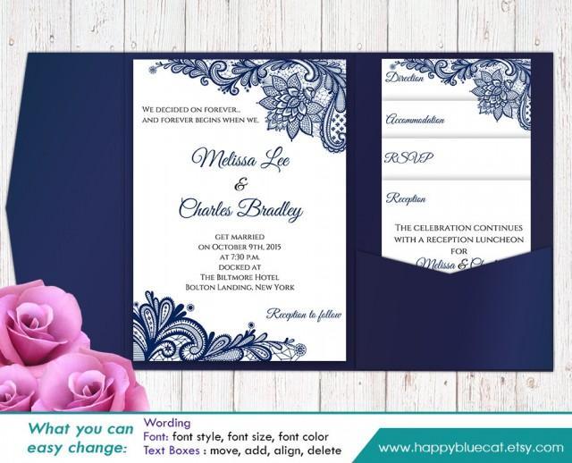 Wedding Invitations Fonts In Microsoft Word: SALE! Printable Pocket Wedding Invitation Template SET