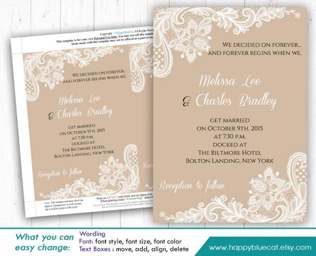 Wedding Invitations Template Word: DiY Printable Wedding Invitation Template