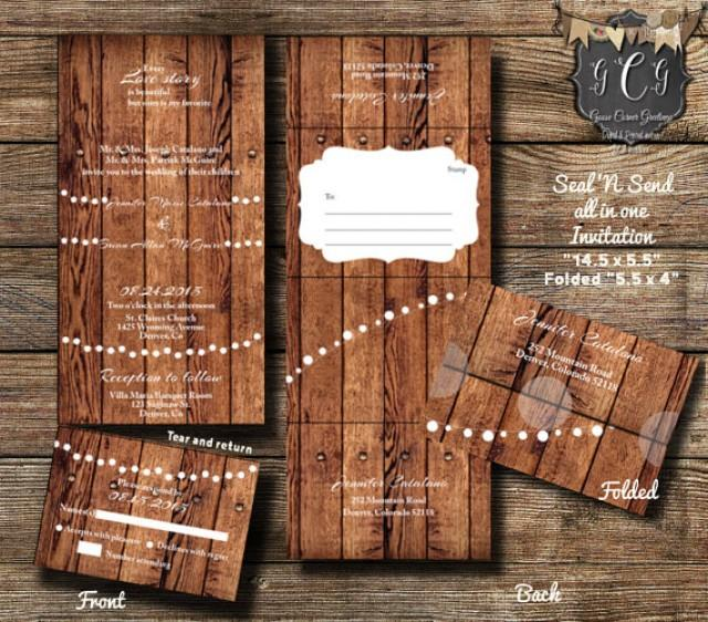 25 Rustic Wood Seal And Send Invitations Seal And Send Wedding