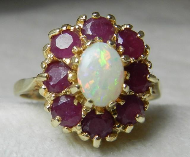 Opal Engagement Halo Opal Ring Opal Engagement Ring Ruby