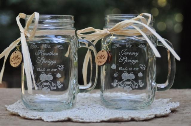 Fall Wedding Favors Pumpkin Mr And Mrs Mason Jars Personalized