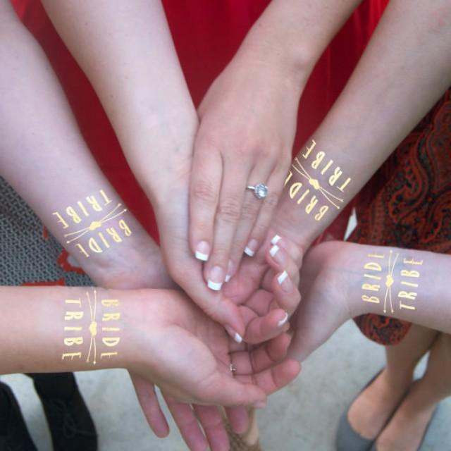 Bride Tribe Gold Temporary Tattoos 10 Individually Packaged Bachelorette Party Favors Bridesmaid Gift Bag Including A Tattoo 2468229