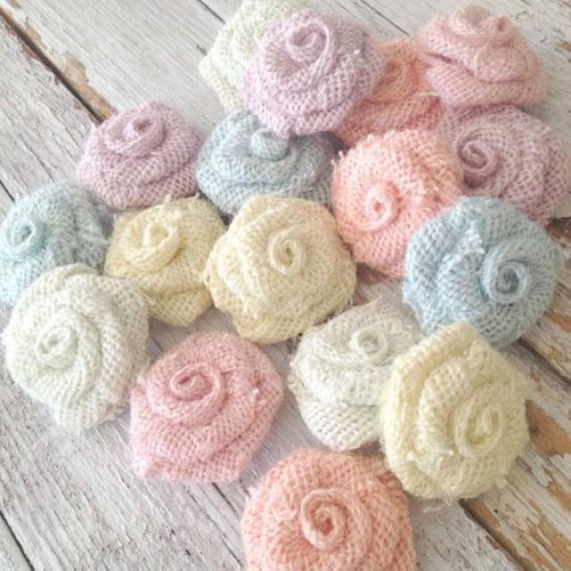 5 Pastel Burlap Flowers, Wedding Decorations DIY, Rustic Wedding ...