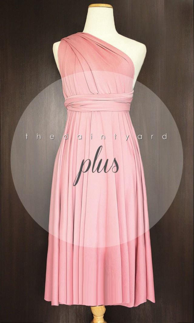 Plus Size Short Straight Hem Blush Bridesmaid Dress Convertible