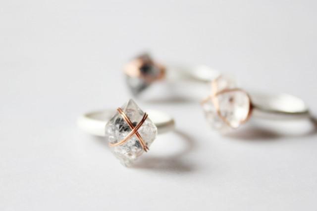 Herkimer Diamond Ring Gold Herkimer Rings Raw Crystal ring Handmade Jewellery