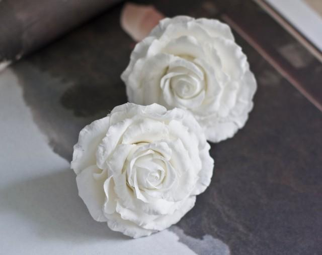 White Garden Rose Hair white rose hair clip - bridal hair accessories - wedding hair