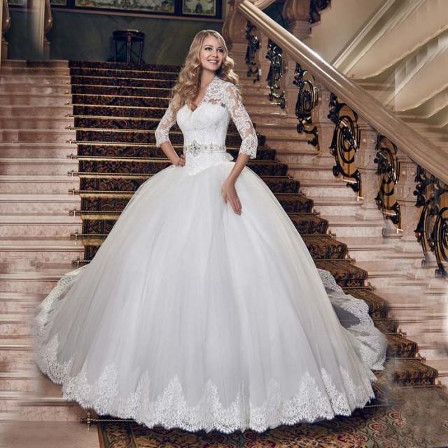 Buy ball gown vestido de casamento v neck for Discount wedding dresses maryland