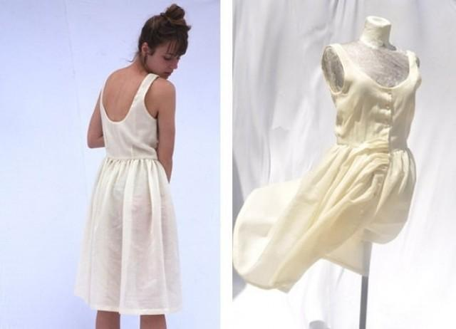 Alternative delicate informal knee length ivory cream off for Wedding dresses off white lace