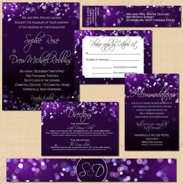 Purple Night Sky Invitation Suite Rsvp Inserts Belly