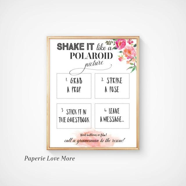 Polaroid Guest Book Station: Wedding Photo Booth Sign, Shake It Like A Polaroid Picture