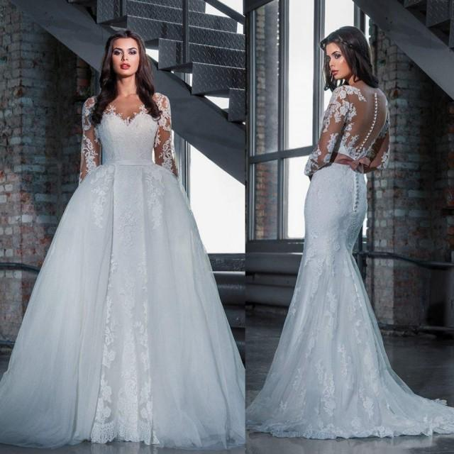 Fashion Lace Wedding Dresses With Detachable Skirt 2016 Princess ...