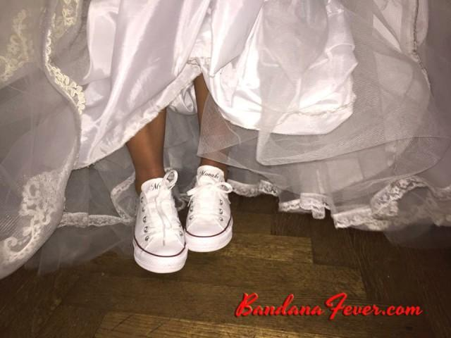 503c1c789db3d Custom Wedding Converse Low White - Personalized Mrs. Wedding Shoes ...