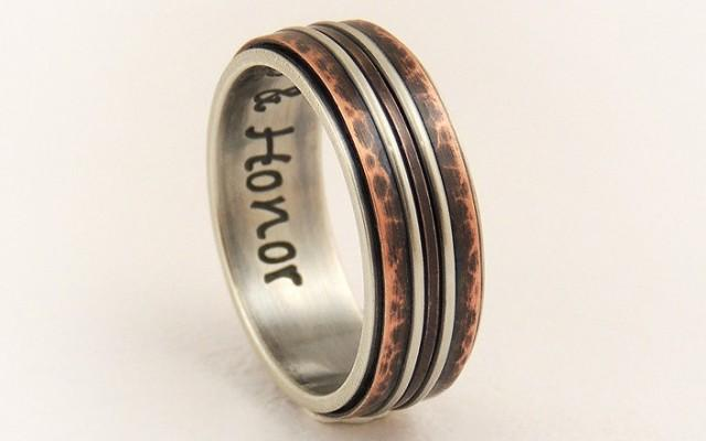 Unique Engagement Ring 8mm Silver Copper Ring Wedding Band Ring