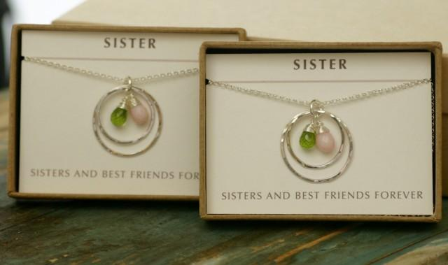 Gift For Best Friend On Wedding Day: Sister Jewelry Birthstone Necklace For Sister Wedding Gift