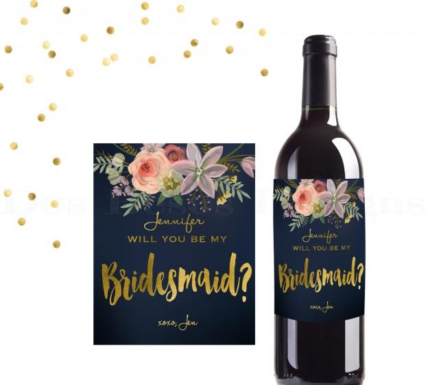 Bridesmaid Wine Label Digital Download Navy And Gold