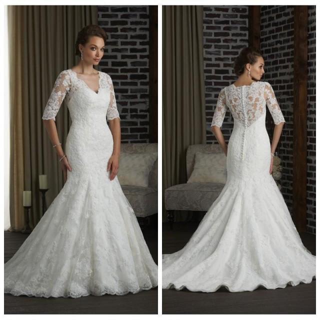 2016 new hot sale berta wedding dresses half sleeve lace for Wedding dress warehouse sale
