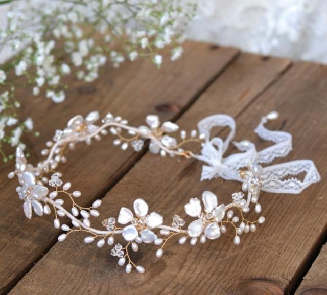 Boho Bridal Hair Vine Gold Floral Wedding Hair Accessory