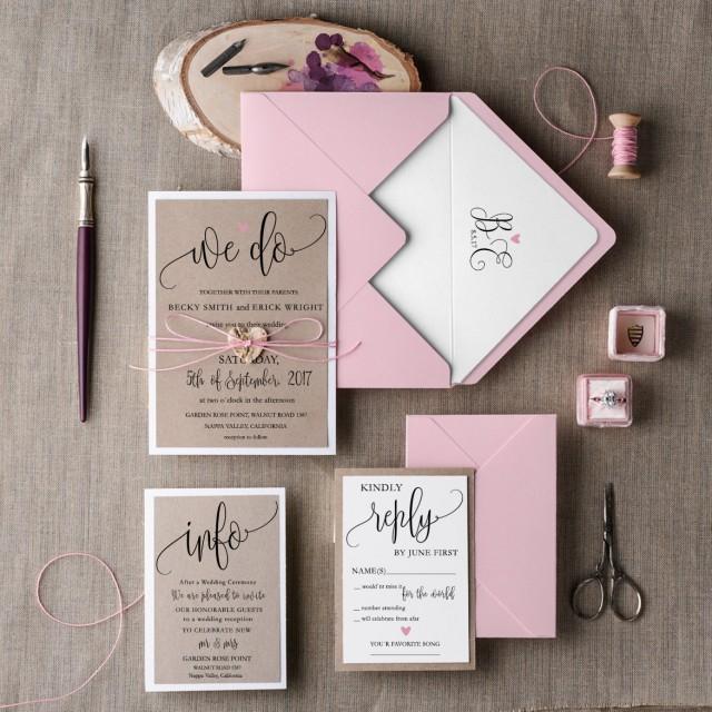 Rustic Wedding Invitation Set (20), Wedding Invitation