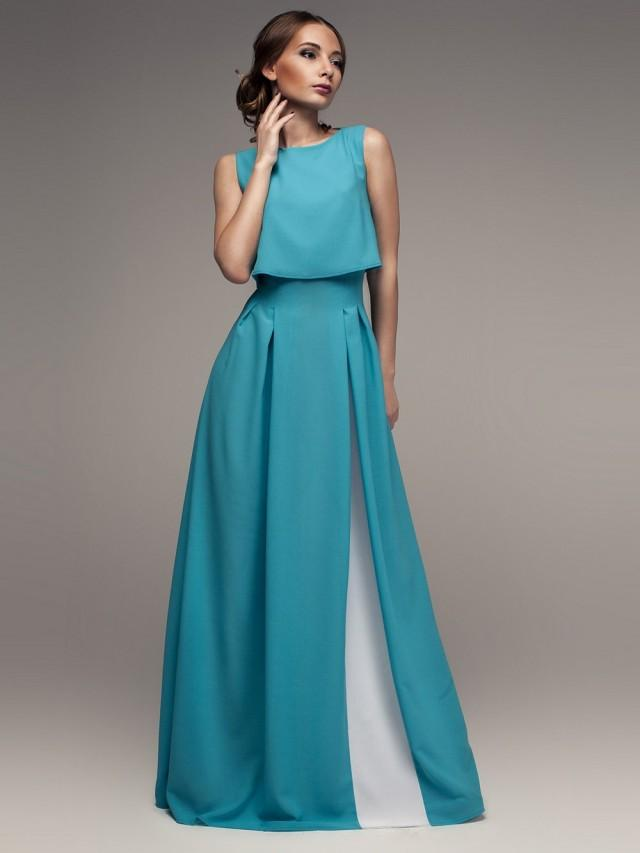 Maxi Dress Turquoise White. Evening Dress With Pleats, Beautiful ...